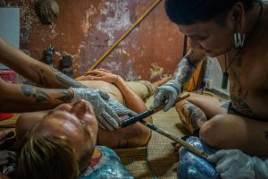Getting a Hand Tapped Dayak Tattoo in Borneo